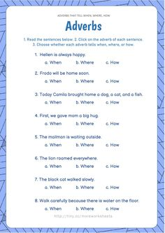 Worksheets For Grade 3, English Grammar Worksheets, Grammar Lessons, Writing Lessons, Adverbs Worksheet, Verbo To Be, English Exercises, Grammar Activities, Kindergarten Lesson Plans