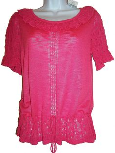 NEXT PINK SHORT SLEEVED LACE KNIT SUMMER DRAW STRING HIP TOP SIZE 10 NEW TAGGED