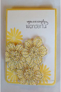 handmade card ... sunny yellow and white ... like the layered flowers stamped on patterned paper and cut out ...