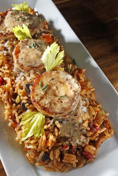 "Dirty Fried Rice and Mushroom ""Scallops"" with Creole Coconut Sauce"