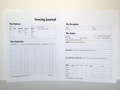 """Make a Sewing Journal « Sew,Mama,Sew! Blog Love this idea. My sewing """"journal"""" isn't so well laid out. I think I'd reduce it to one page max per item. Can't imagine filling out 2 pages for every single thing I make!"""