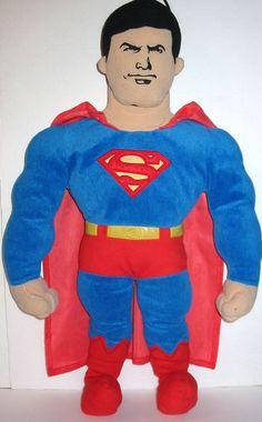 Vtg SUPERMAN D.C. SuperHeroes Justice League BedTime Buddies Figure Plush Pillow #DCComics