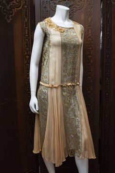 1st Dibs. 1920 silk brocade and Georgette gown.