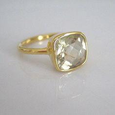 Gold Vermeil Faceted Citrine Quartz Ring -- vantar þennan ;)