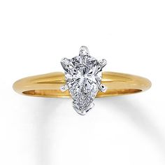 Diamond Solitaire Ring 1 carat Pear-shaped  14K Yellow Gold