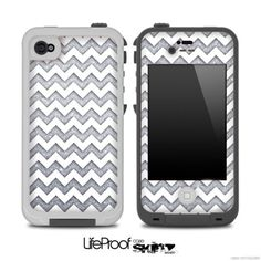White and Silver Chevron Pattern Skin for the iPhone 4/4s or 5 LifeProof Case on Etsy, $9.99