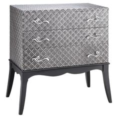 Showcasing a textured diamond motif and scrolling hardware, this 3-drawer chest is a perfect addition to your living room or den.     ...