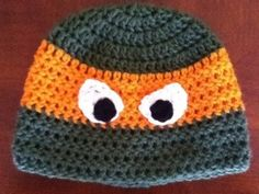 Free Ninja Turtle Hat Crochet Pattern - There's a little tie in the back!! So cool!
