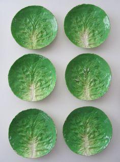 Six 6 Italian Soft Paste, Majolica Lettuce Ware Plates from billysbungalow