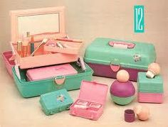 Caboodles!  I had a big one for makeup and a small one for earrings