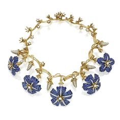 18 Karat gold, platinum, sapphire and diamond 'Morning Glory' necklace, Schlumberger for Tiffany