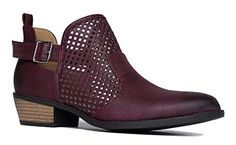 Milton Western Bootie Burgundy PU 9 BM US * Check out the image by visiting the link. (This is an affiliate link)