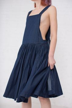 Tablier Rouche Dress in Indigo