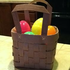 Easter basket made from a paper bag (from the grocery store).