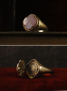 Agate signet ring with a portrait inside. Erie Basin.