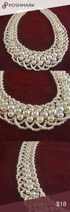 Pearl collar necklace Brand new pearl collar adjustable necklace.  Nice costume jewelry! Jewelry Necklaces