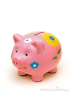 Photo about Hand painted piggy bank on white background with space for copy. Pig Bank, Penny Bank, Cute Piggies, Baby Pigs, Money Box, Clay Projects, Great Pictures, Image Photography, Animals Beautiful