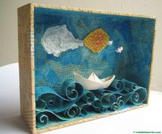 Making a ocean diorama is a fun way to learn about life in the sea. These under the sea dioramas are fun to make and look great. Summer Crafts, Crafts For Kids, Easy Art For Kids, Ocean Diorama, Arte Elemental, Paper Art, Paper Crafts, Diy Paper, Shoebox Crafts