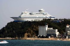 In South Korea, The world's first cruise ship-shaped hotel is perched atop a cliff.