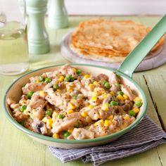 Pancake Recipe: Chicken and veggie pancake filling - See more recipes like this at goodhousekeeping.co.uk