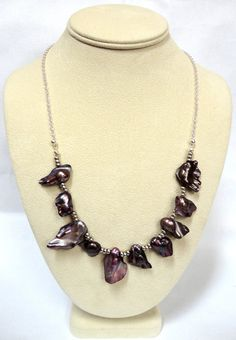 Purple Bib Necklace Purple Blister Pearl by PiecenTranquility