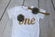 Birthday Girl ONESIE  - Gold Glitter ONE - First birthday outfit - Bodysuit, One tee gold and animal print onesie and matching headband by TulleVogue on Etsy