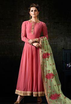 Semi Stitched #Rose #Pink Georgette #Anarkali #Suit #nikvik  #usa #designer #australia #canada #freeshipping