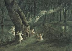 "A. W. Crawford, ""Woodland fairies in the moonlight"" 