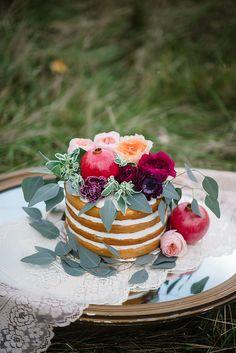 naked wedding cake, photo by Emily Millay Photography http://ruffledblog.com/luxe-winter-wonderland-wedding-inspiration #cakes #weddingcake