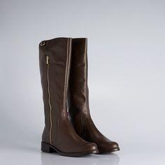 BT 0086 - bota de cano longo em couro com fechamento de zíper na lateral e detalhe de neoprene na parte traseira. #coloridoviamia