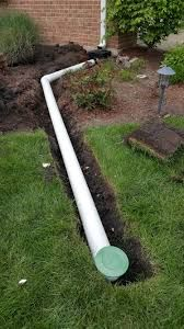 Downspout drainage to PVC tubing out to pop-up emitter.