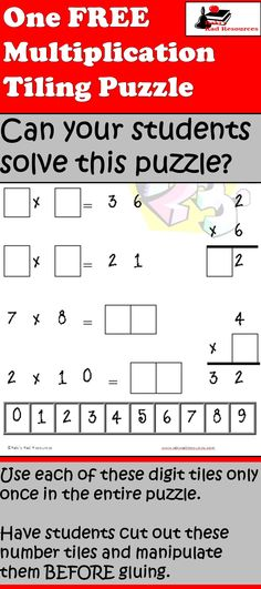 FREE Multiplication Tiling puzzle - Use the digit tiles to fill in the blanks and make each equation correct.