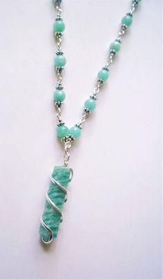 Amazonite gemstone pendant and beaded necklace by SeptemberMoonStudio on Etsy