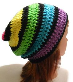 Crochet Slouchy Striped Rainbow Beanie Hat with by AddSomeStitches, $24.00 #etsy #Crochet #rainbow
