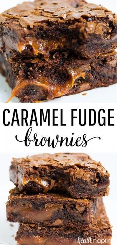 Chocolate Fudge Caramel Brownies - Easy to make brownies that are loaded with chocolate chips and layers of gooey caramel. Rich chewy and simply amazing! Chocolate Fudge Caramel Brownies - Easy to. Smores Dessert, Bon Dessert, Dessert Dips, Dessert Table, Appetizer Dessert, Simple Dessert, Breakfast Dessert, Appetizer Recipes, Easy Chocolate Fudge
