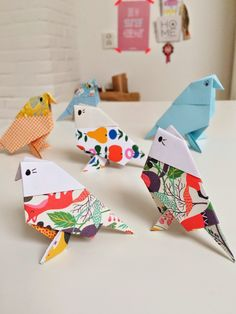 "Seriously ADORABLE Origami Birds to make with the kids. I confess, that I am not a ""big"" Origami person, but seeing how cute these are, I really want to have a go at making some of these paper birds. They…"