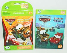 2 LOT LEAPFROG TAG ACTIVITY BOOK DISNEY CARS TRACTOR TIPPING PROJECT UNDERCOVER #LeapFrog