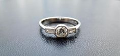 Vintage style 18ct & diamond engagement ring art deco style