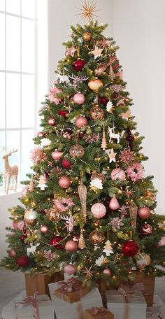 Elevate your holiday look with serene rose Christmas decorations by CANVAS, available exclusively at Canadian Tire. Christmas Tree Colour Scheme, Pink Christmas Tree Decorations, Rose Gold Christmas Tree, Pink Christmas Ornaments, Elegant Christmas Trees, Silver Christmas Tree, Colorful Christmas Tree, Christmas Themes, Décoration Rose Gold