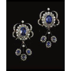 Pendientes de diamantes y zafiros de la casa Melleiro