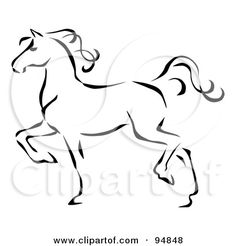 horse outline printable | Graceful Black Line Art Trotting Horse Profile Posters, Art Prints by ...