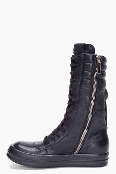 RICK OWENS Black Cargo Basket Sneakers