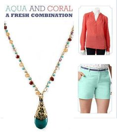 This season try mixing Aqua and Coral together for a fresh combination.   Shop your Aqua and Coral accessories TODAY