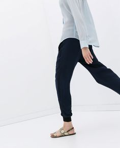 Image 4 of COMBINATION TROUSERS WITH CUFFED HEM from Zara