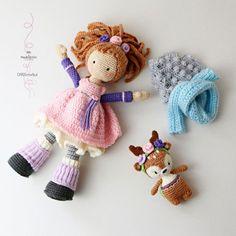 Crochet pattern for doll MIA & deer LAYLA Deutsch от CAROcreated
