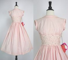 Vintage 50s Dress NOS w/ Tags Never Worn Vicky Vaughn Label Pink Party Dress Lace Rhinestones Shelf Bust 1950s Dresses Please Read Condition by swingkatsvintage on Etsy https://www.etsy.com/listing/178983052/vintage-50s-dress-nos-w-tags-never-worn