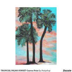 TROPICAL PALMS SUNSET Canvas Print