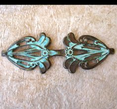 Bail, Art Deco Stamping in Oxidized Brass or Verdigris Finish  by Filigree and Me