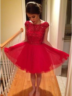 A-line Cap-Sleeve Above-knee Tulle Red Beading Homecoming Dresses #SIMIBridal