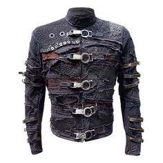 One of my flagship products, the Fraktur Mark II jacket is a dark, post-apocalyptic mosaic of scraps, straps, grommets and chunky hardware. It's the kind of jacket Pinhead from Hellraiser would proudly wear. Mode Cyberpunk, Cyberpunk Fashion, Moda Steampunk, Gothic Mode, Post Apocalyptic Fashion, Apocalyptic Clothing, Canvas Jacket, Look Man, Herren Outfit